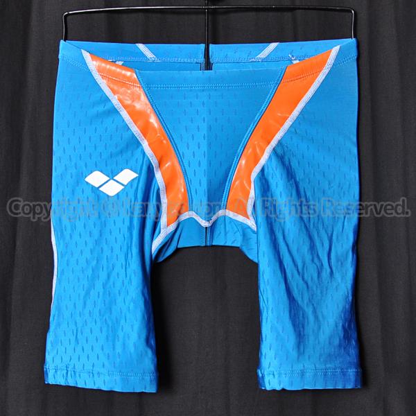 【買取】アリーナaile-blueエールブルーARN-V4508ハーフスパッツ競泳水着ブルー×オレンジ
