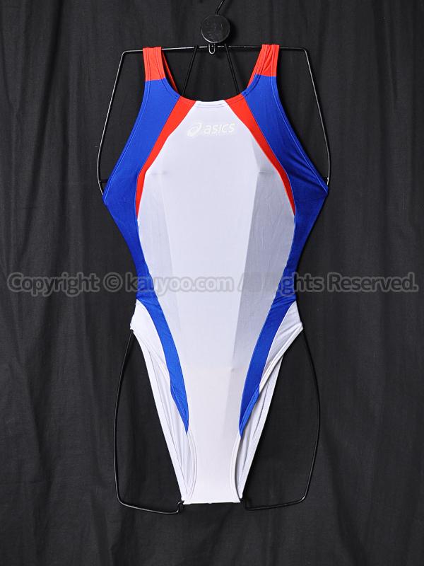 【買取】asics旧ロゴALS86TハイドロCD切替ハイカット競泳水着 白赤青 白ロゴ