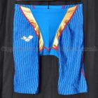 arenaアリーナaile-blueエールブルーARN-7008Mハーフスパッツ競泳水着ブルー×ゴールド