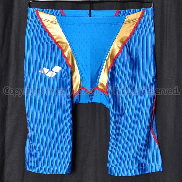 【買取】arenaアリーナaile-blueエールブルーARN-7008Mハーフスパッツ競泳水着ブルー×ゴールド