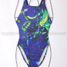 旧SPEEDOスピードAQUASPECアクアスペック アクセライン競泳水着ネイビー柄