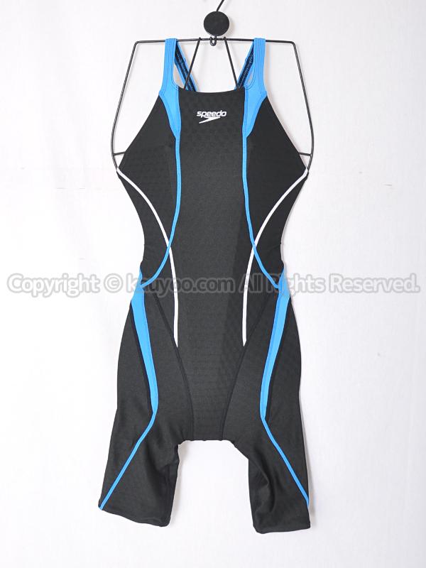 【買取】speedoスピードFLEX Cubeセミオープンバックニースキン競泳水着SD46H04ブラック×ブルー