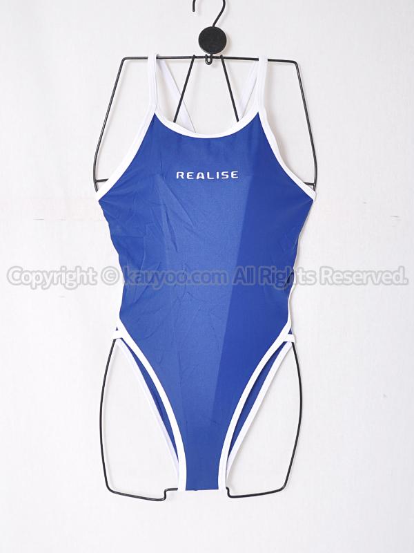 【買取】REALISEトライアングルバックN-0331ハイレグ競泳水着コス 紺×白パイピング