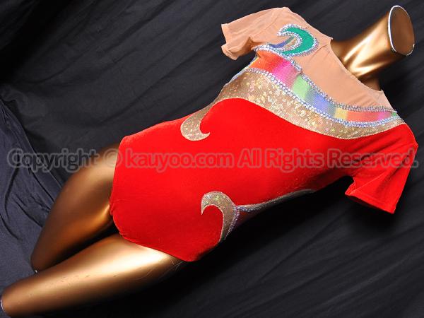 【買取】Olynstone オリンストーン 赤ベルベット×メッシュ 競技用エアロビックレオタード