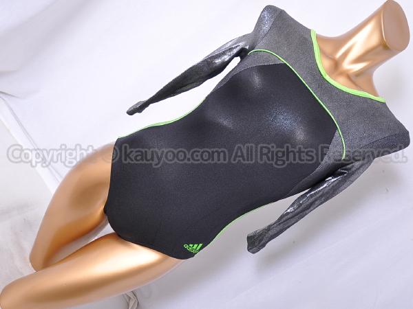 【買取】adidas アディダス 光沢ホログラム グリーンストラップ ロングスリーブレオタード