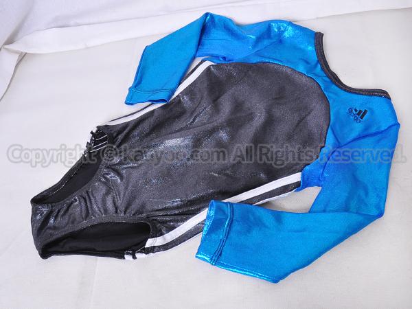 【買取】adidas アディダス 光沢ホログラム ブラック×ブルー ロングスリーブレオタード
