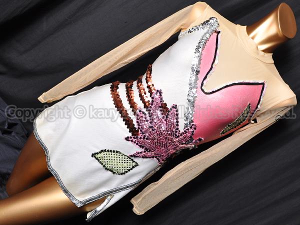 【買取】Chacottチャコット新体操スカート付ロングスリーブレオタード スパンコール装飾 アイボリー