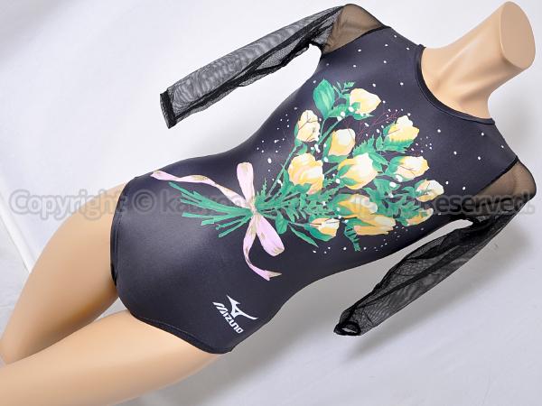 【買取】mizunoミズノ光沢ブラック花束柄メッシュスリーブ体操レオタード