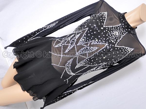 【買取】冰火之舞 豪華ラインストーン装飾フィギュアスケートレオタード黒