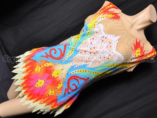 【買取】LIUHUO競技用スリーブレス新体操スカート付レオタード カラフル柄×装飾