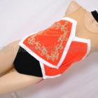 豪華装飾バトントワリング衣装タキシード風レオタード黒ベルベット×朱赤
