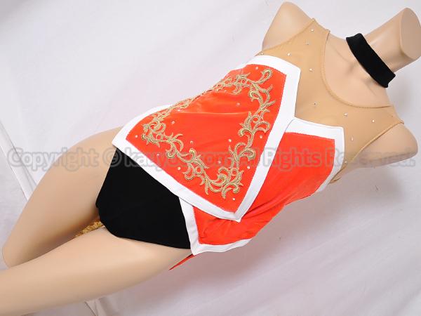 【買取】豪華装飾バトントワリング衣装タキシード風レオタード黒ベルベット×朱赤