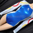 Milano ミラノ 光沢ホログラム ロングスリーブ体操レオタード ブルー×シルバー