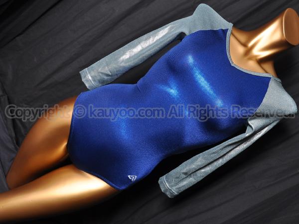 【買取】Alpha Factorアルファファクター光沢ホログラム七分袖レオタードPS1455ブルー×ガンメタ