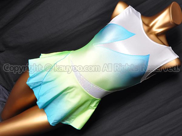 【買取】コージプランニング新体操スカート付きレオタード白青黄グラデーション