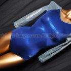 Alpha Factorアルファファクター光沢ホログラム七分袖レオタードPS1455ブルー×ガンメタ